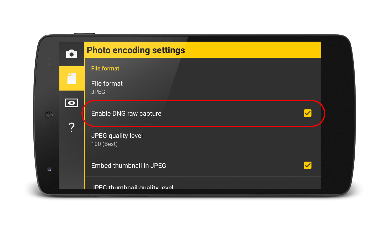 Enabling RAW capture