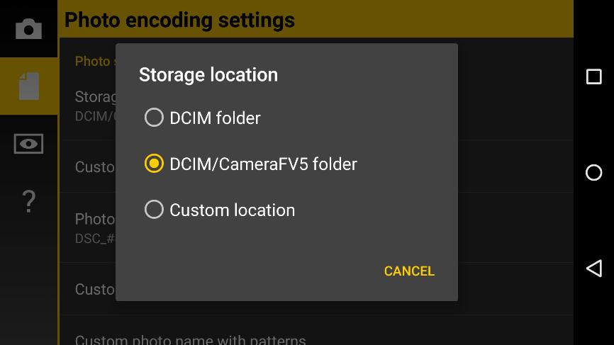 Storage Folders Camera Fv 5